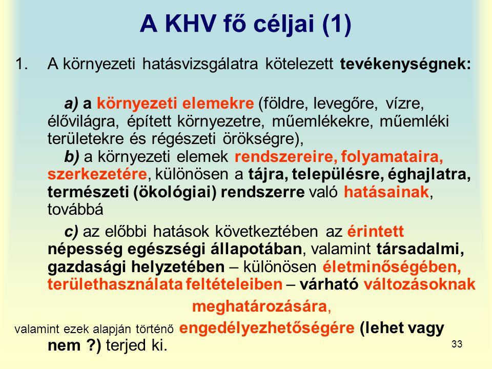 A KHV fő céljai (1) A környezeti hatásvizsgálatra kötelezett tevékenységnek: