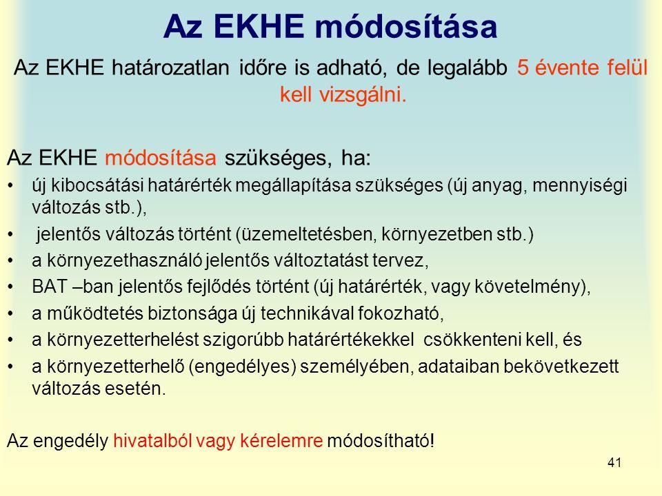 Az EKHE módosítása Az EKHE határozatlan időre is adható, de legalább 5 évente felül kell vizsgálni.