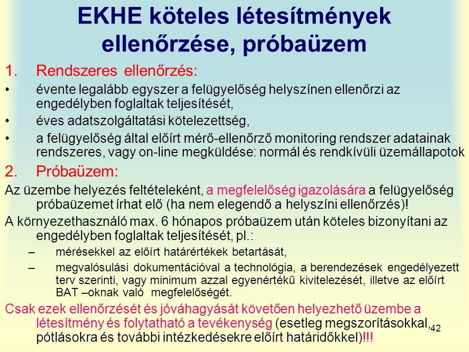 EKHE köteles létesítmények ellenőrzése, próbaüzem