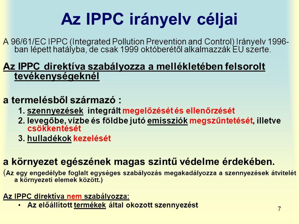 Az IPPC irányelv céljai