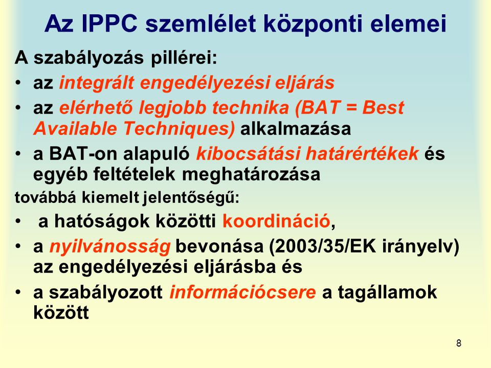 Az IPPC szemlélet központi elemei