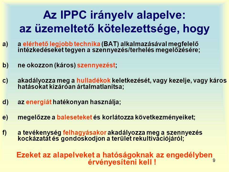 Az IPPC irányelv alapelve: az üzemeltető kötelezettsége, hogy