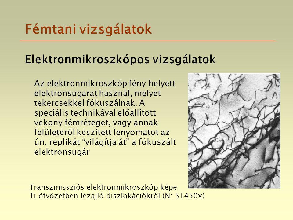 Fémtani vizsgálatok Elektronmikroszkópos vizsgálatok
