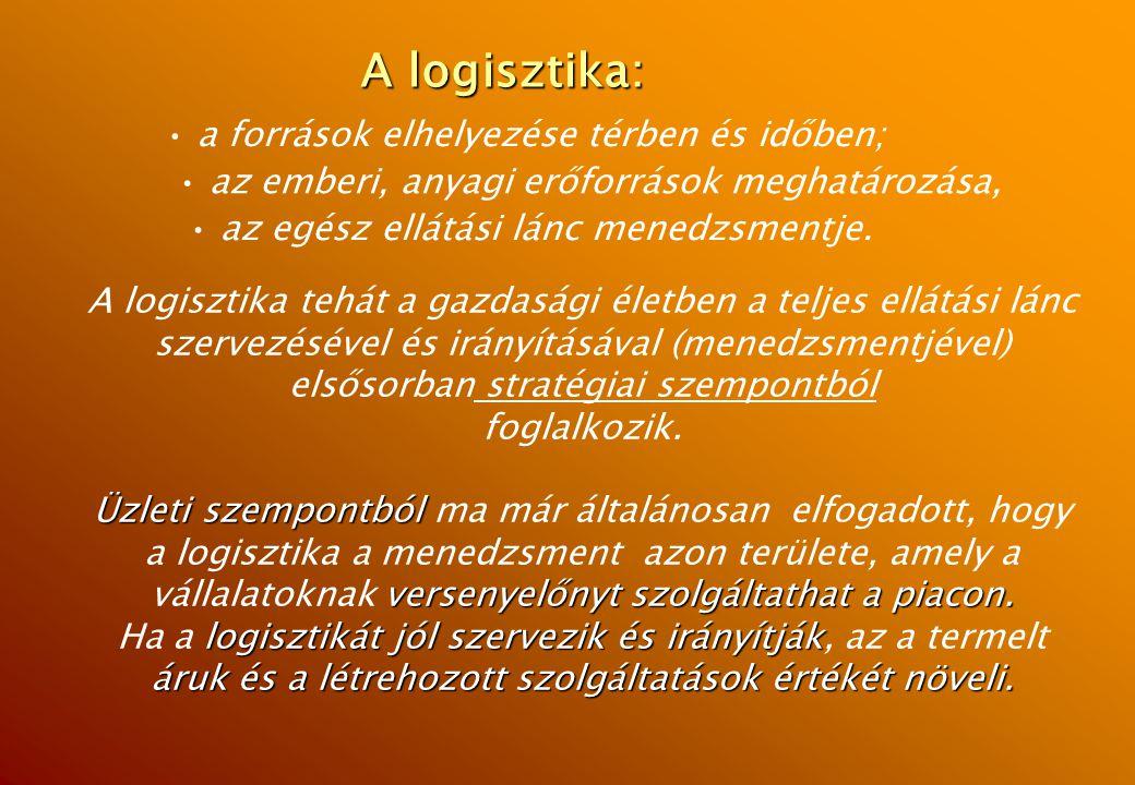 A logisztika: a források elhelyezése térben és időben;