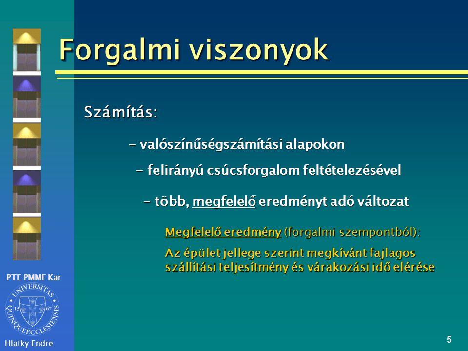 Forgalmi viszonyok Számítás: - valószínűségszámítási alapokon