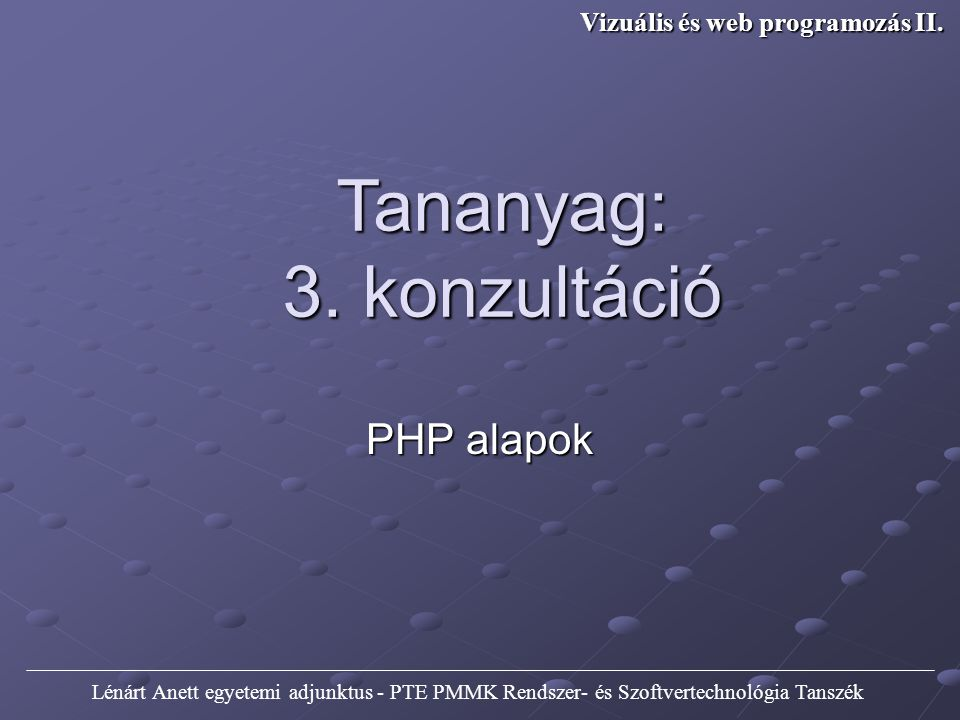 Vizuális és web programozás II.
