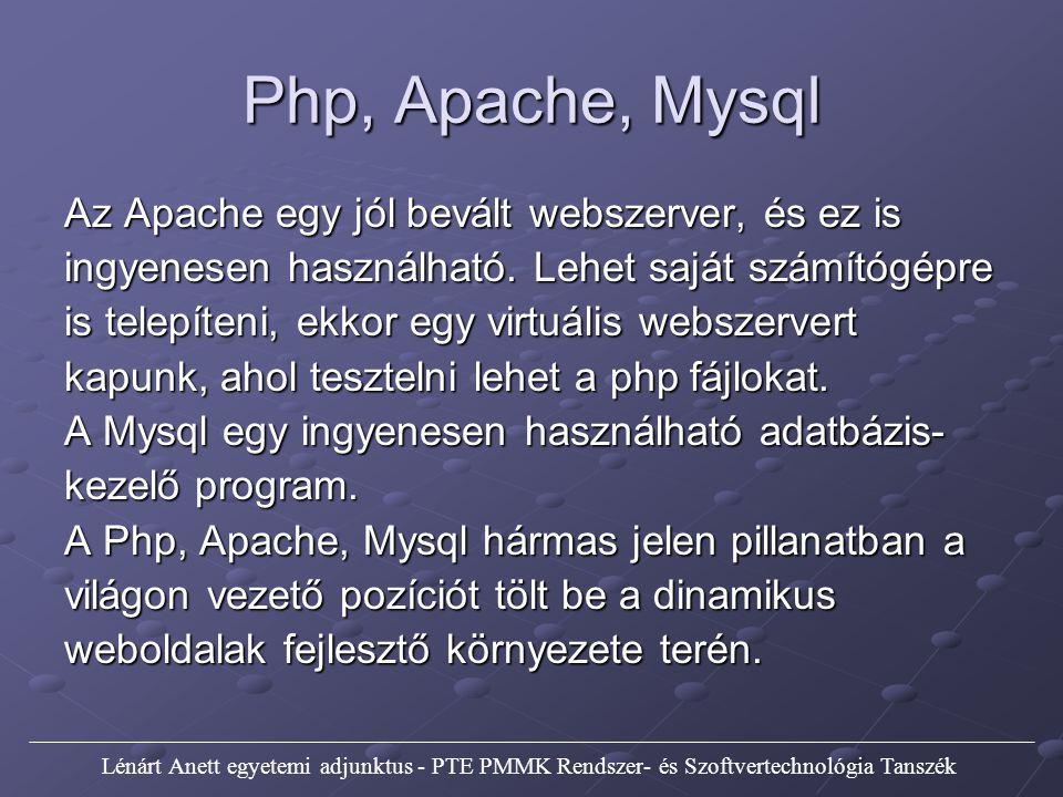 Php, Apache, Mysql Az Apache egy jól bevált webszerver, és ez is