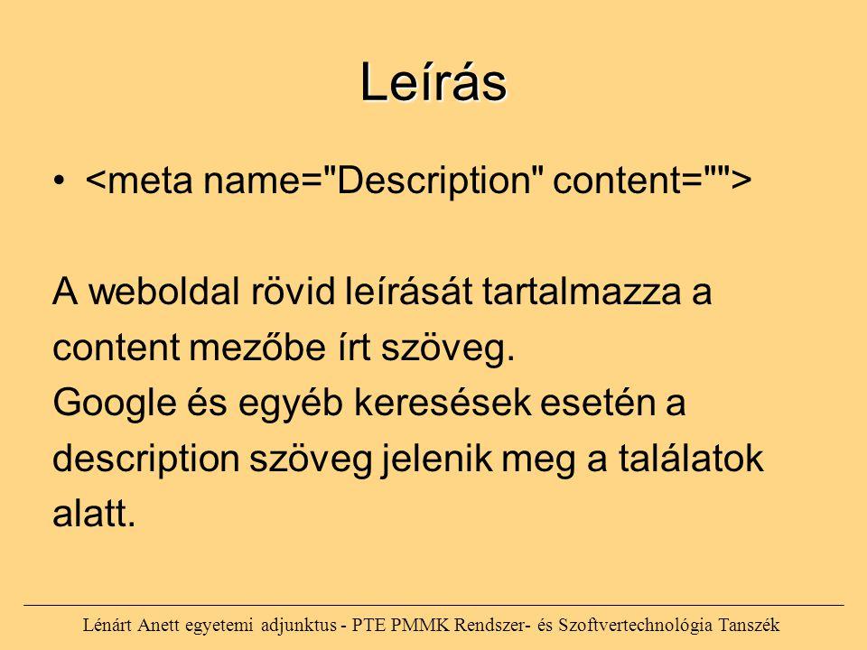 Leírás <meta name= Description content= >