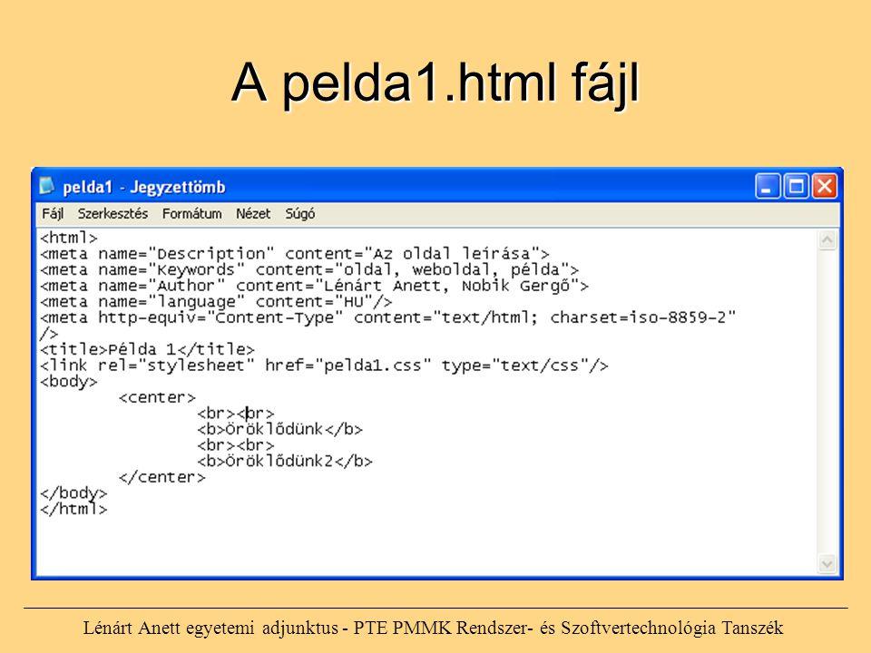 A pelda1.html fájl Lénárt Anett egyetemi adjunktus - PTE PMMK Rendszer- és Szoftvertechnológia Tanszék.