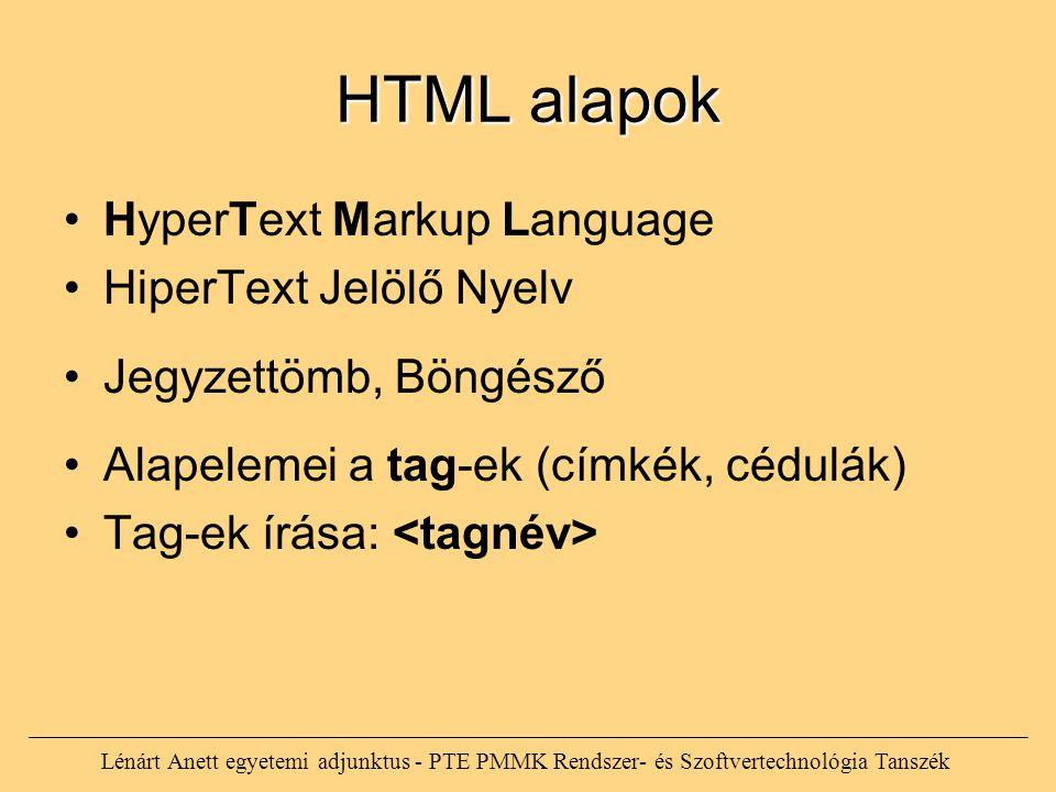 HTML alapok HyperText Markup Language HiperText Jelölő Nyelv