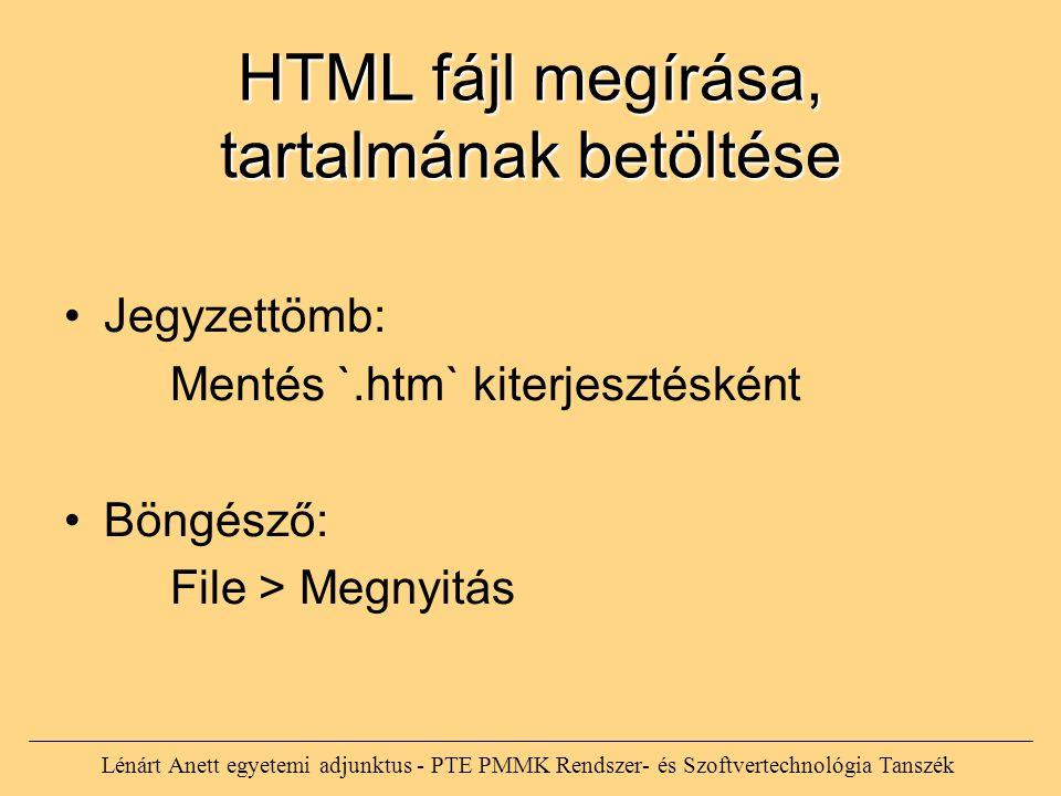 HTML fájl megírása, tartalmának betöltése