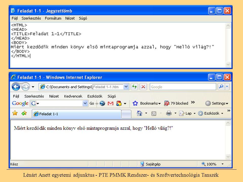 Lénárt Anett egyetemi adjunktus - PTE PMMK Rendszer- és Szoftvertechnológia Tanszék