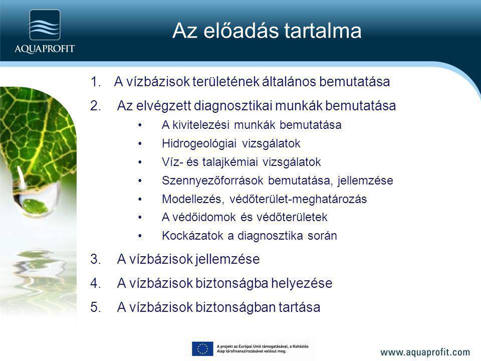 Az előadás tartalma A vízbázisok területének általános bemutatása