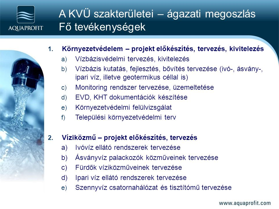 A KVÜ szakterületei – ágazati megoszlás Fő tevékenységek
