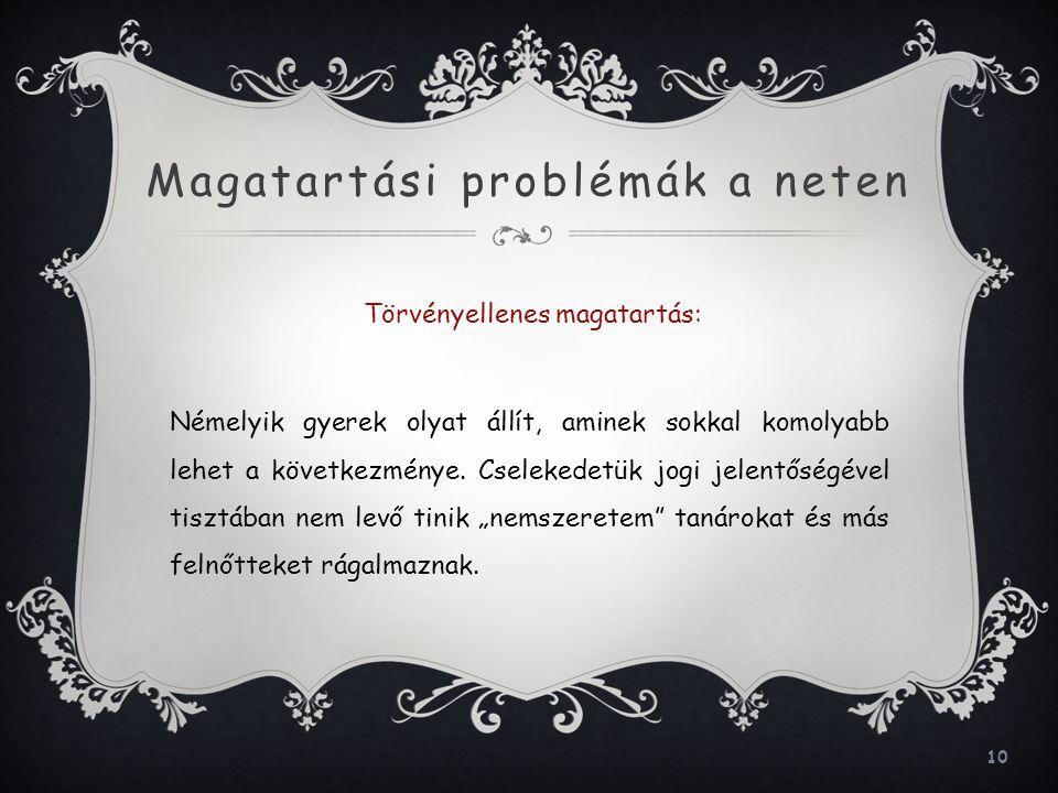 Magatartási problémák a neten