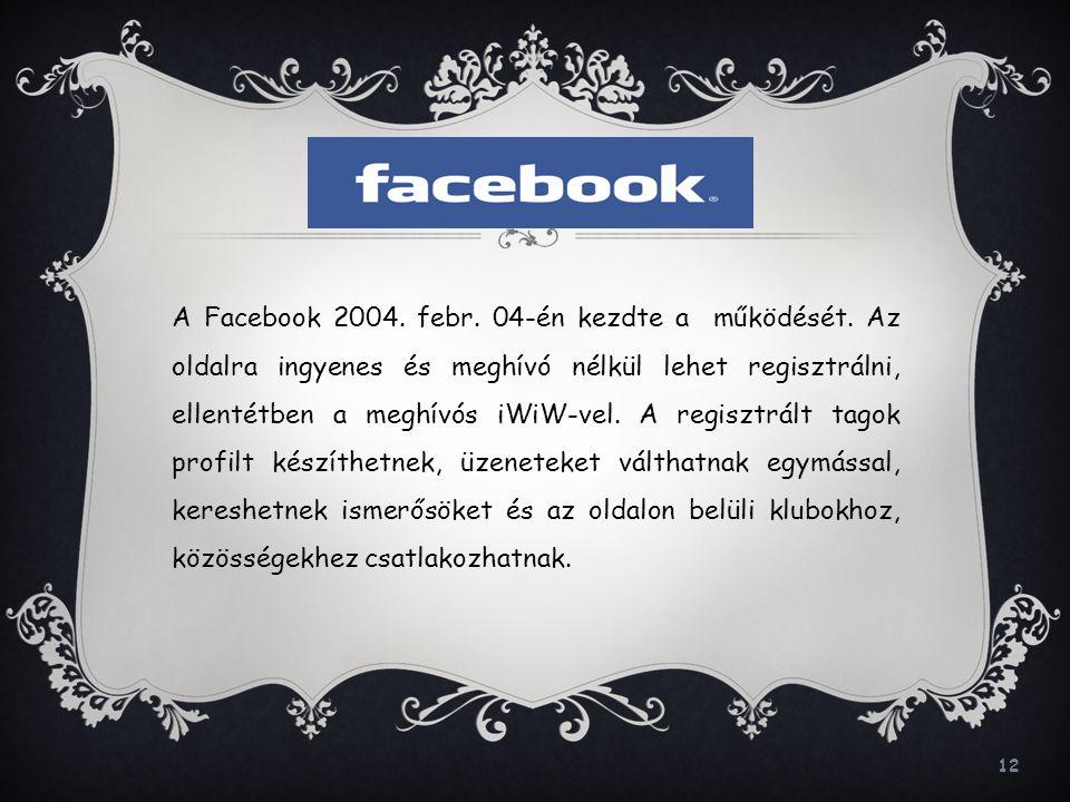 A Facebook 2004. febr. 04-én kezdte a működését