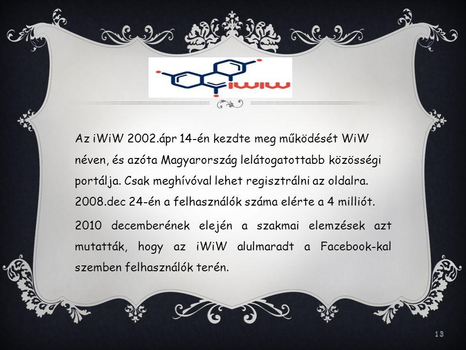 Az iWiW 2002.ápr 14-én kezdte meg működését WiW néven, és azóta Magyarország lelátogatottabb közösségi portálja.