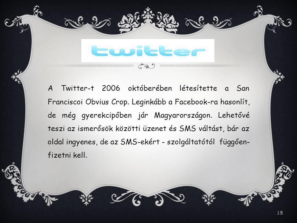 A Twitter-t 2006 októberében létesítette a San Franciscoi Obvius Crop