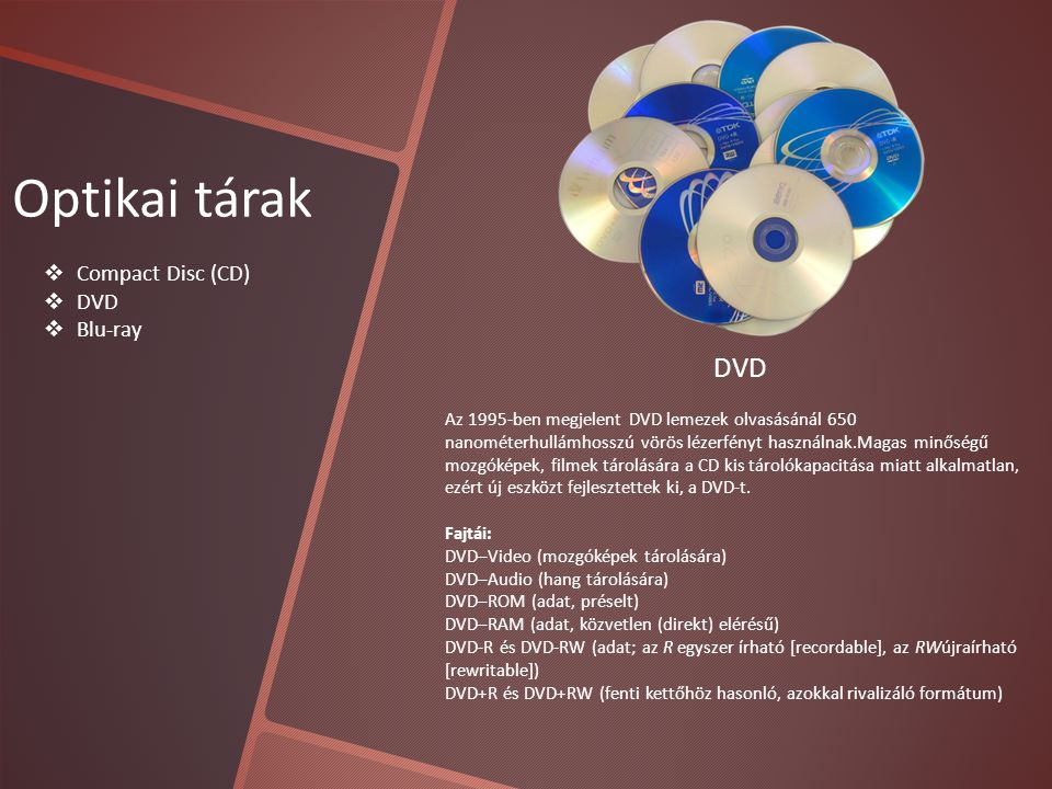 Optikai tárak DVD Compact Disc (CD) DVD Blu-ray