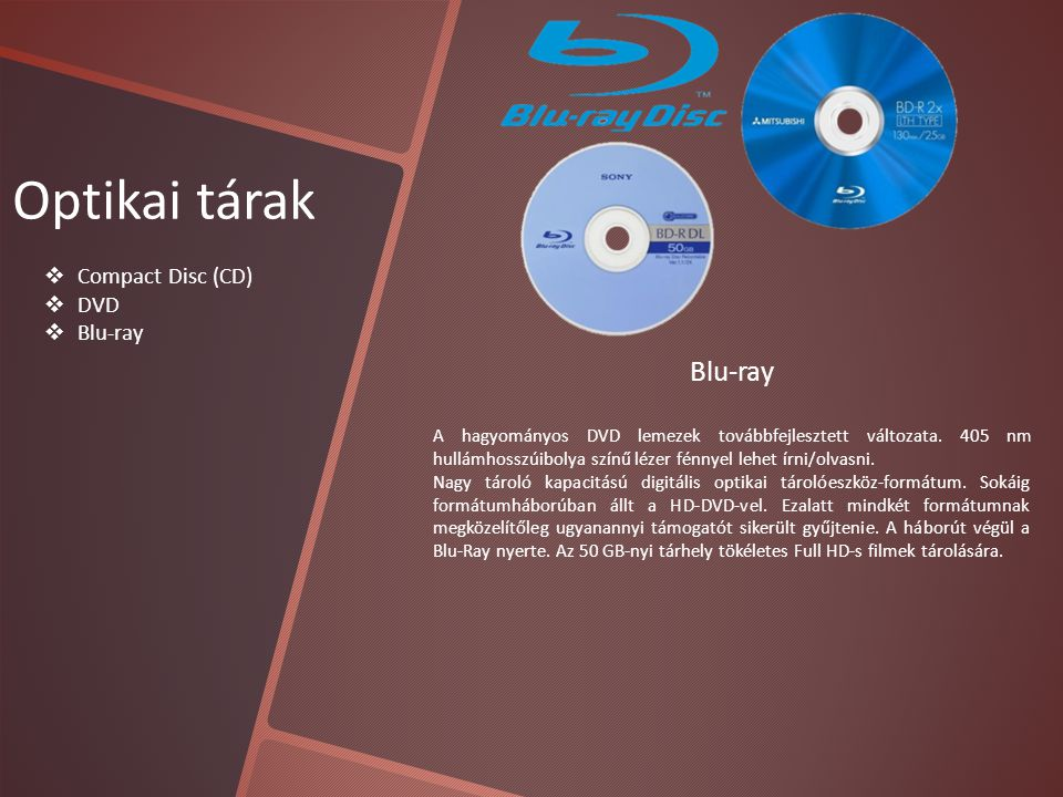 Optikai tárak Blu-ray Compact Disc (CD) DVD Blu-ray