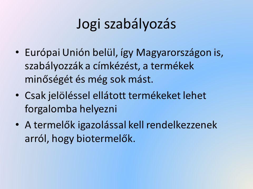 Jogi szabályozás Európai Unión belül, így Magyarországon is, szabályozzák a címkézést, a termékek minőségét és még sok mást.