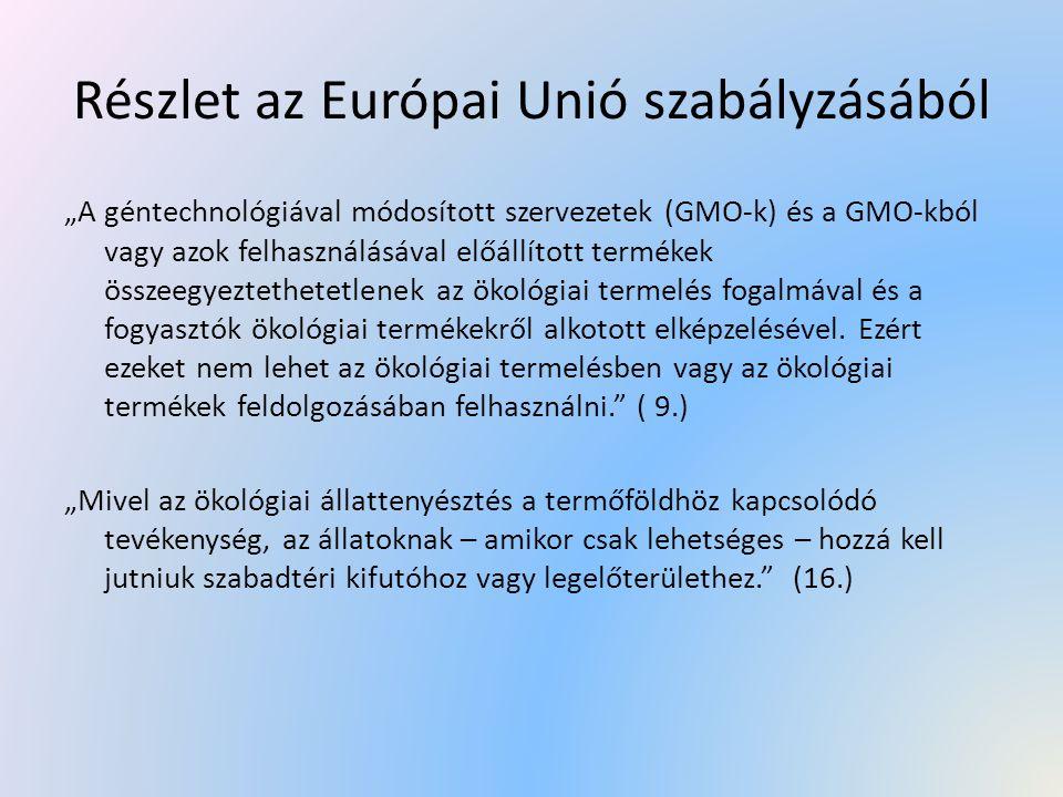 Részlet az Európai Unió szabályzásából