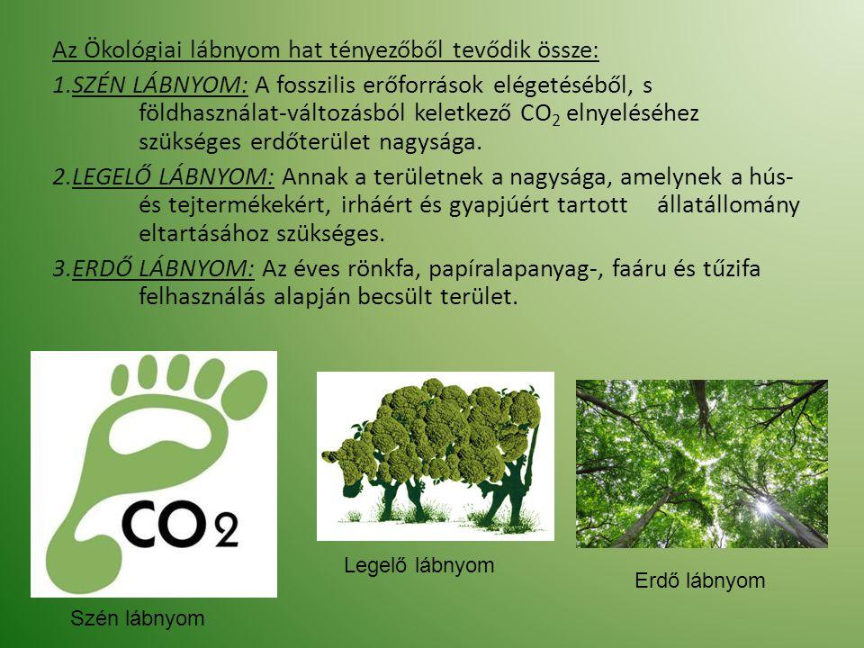 Az Ökológiai lábnyom hat tényezőből tevődik össze: