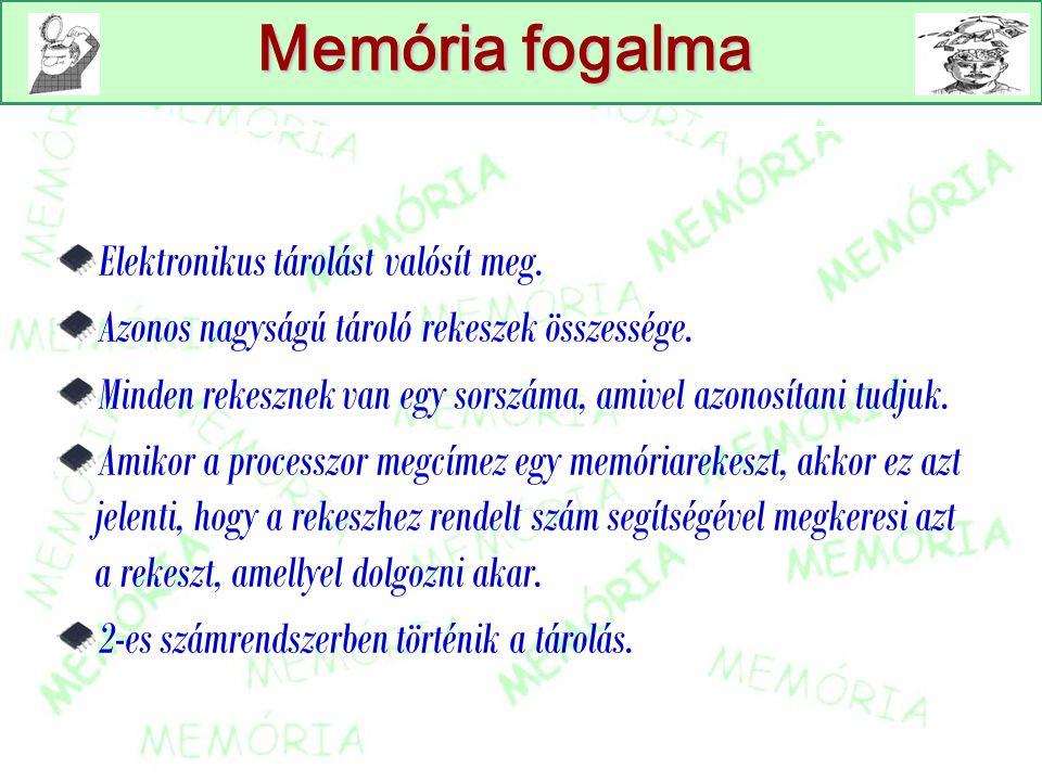 Memória fogalma Elektronikus tárolást valósít meg.