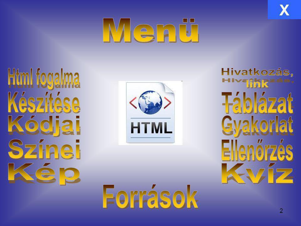 Html fogalma Hivatkozás, link Készítése Táblázat Kódjai Gyakorlat