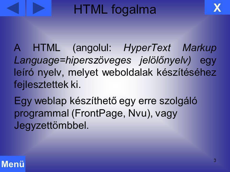 HTML fogalma X.