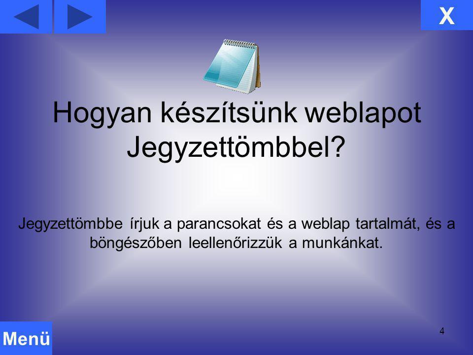 Hogyan készítsünk weblapot Jegyzettömbbel