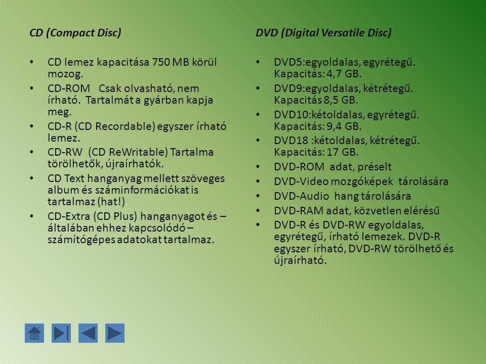 CD (Compact Disc) CD lemez kapacitása 750 MB körül mozog. CD-ROM Csak olvasható, nem írható. Tartalmát a gyárban kapja meg.