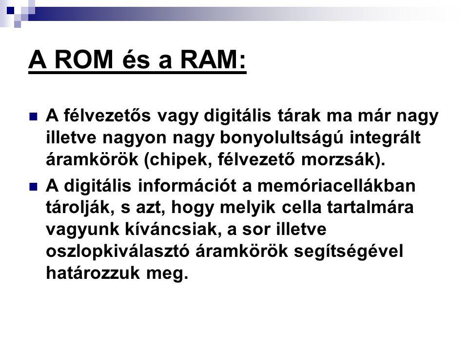 A ROM és a RAM: A félvezetős vagy digitális tárak ma már nagy illetve nagyon nagy bonyolultságú integrált áramkörök (chipek, félvezető morzsák).