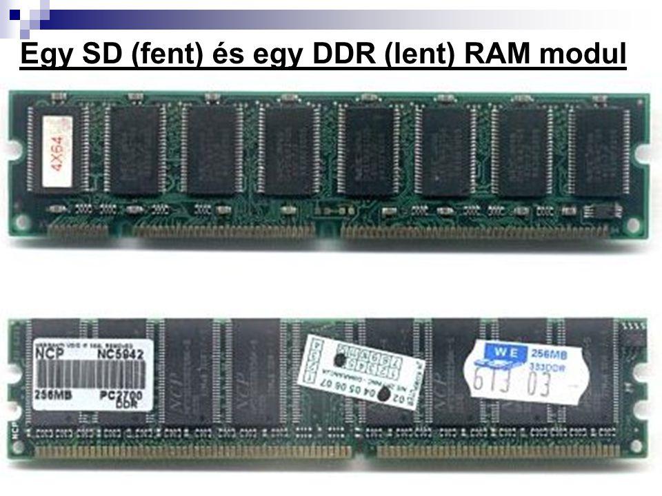 Egy SD (fent) és egy DDR (lent) RAM modul