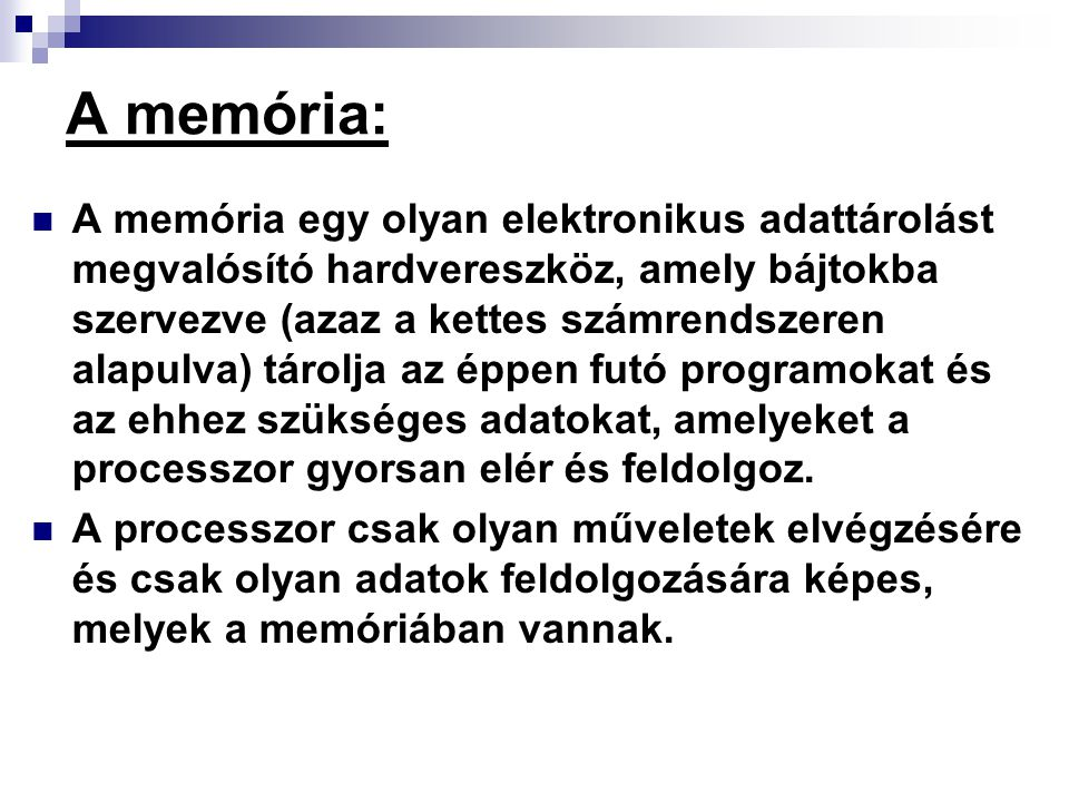 A memória:
