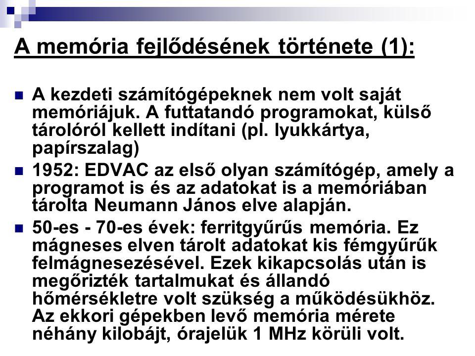 A memória fejlődésének története (1):