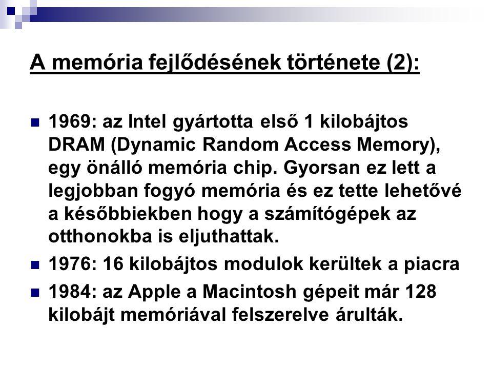 A memória fejlődésének története (2):
