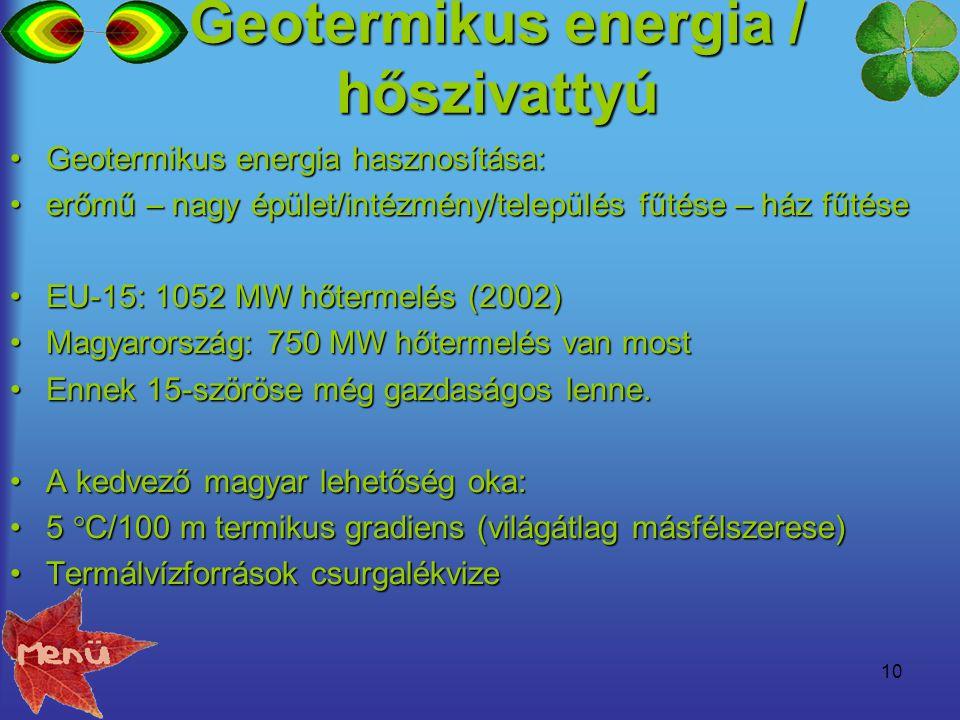 Geotermikus energia / hőszivattyú
