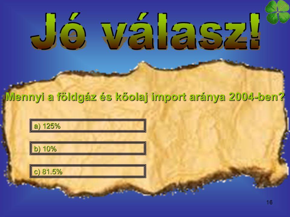 Mennyi a földgáz és kőolaj import aránya 2004-ben
