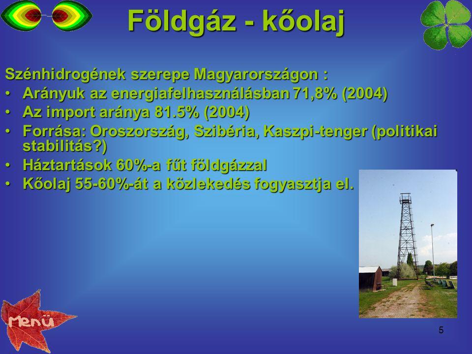 Földgáz - kőolaj Szénhidrogének szerepe Magyarországon :