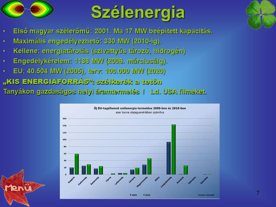 Szélenergia Első magyar szélerőmű: 2001. Ma 17 MW beépített kapacitás.
