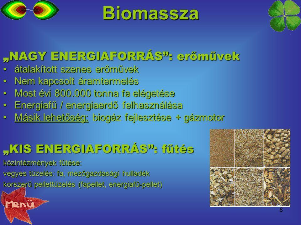 """Biomassza """"NAGY ENERGIAFORRÁS : erőművek """"KIS ENERGIAFORRÁS : fűtés"""