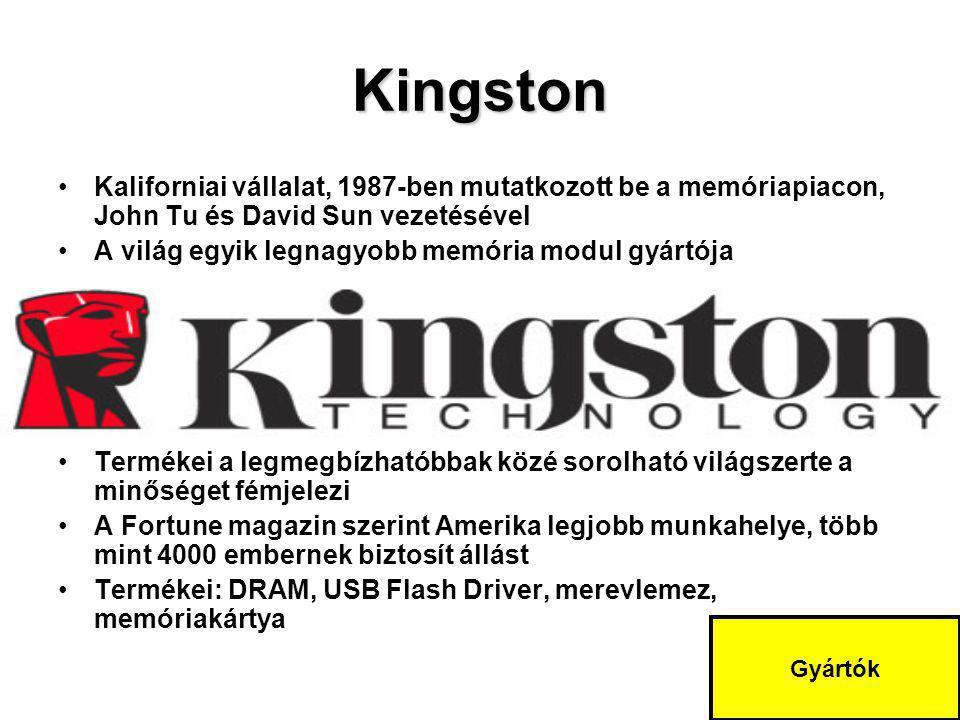 Kingston Kaliforniai vállalat, 1987-ben mutatkozott be a memóriapiacon, John Tu és David Sun vezetésével.
