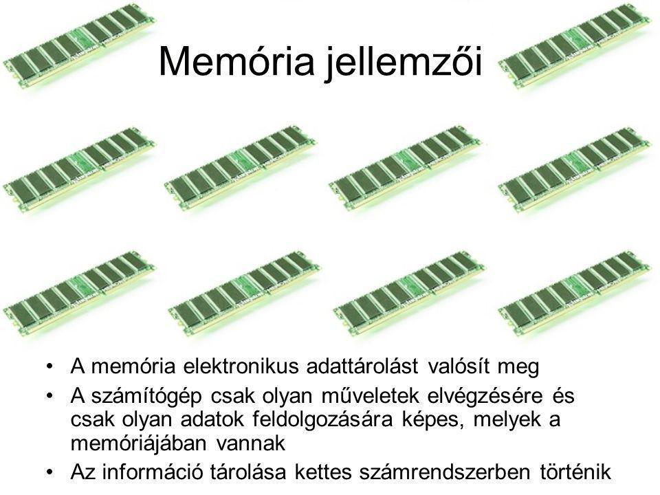 Memória jellemzői A memória elektronikus adattárolást valósít meg