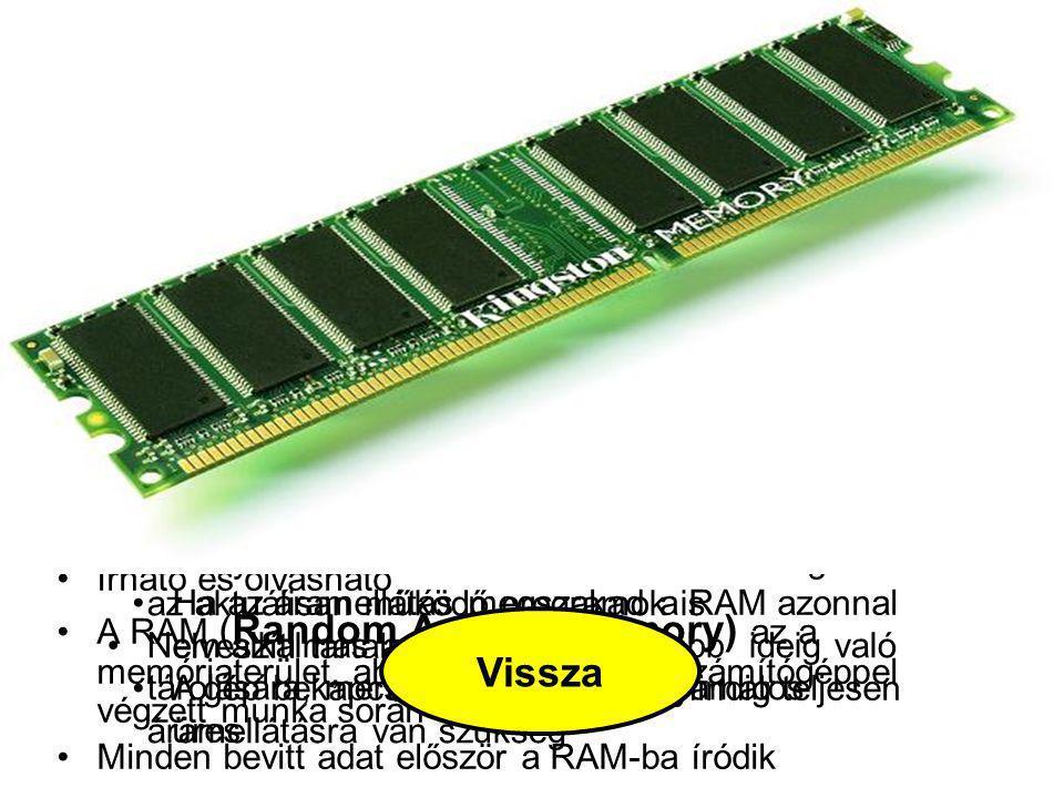 RAM Itt helyezkednek el és ezen a területen dolgoznak az aktuálisan működő programok is.