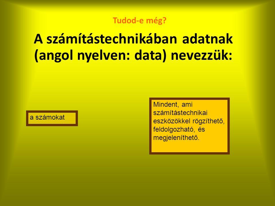 A számítástechnikában adatnak (angol nyelven: data) nevezzük: