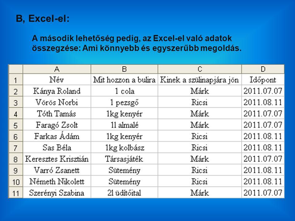 B, Excel-el: A második lehetőség pedig, az Excel-el való adatok összegzése: Ami könnyebb és egyszerűbb megoldás.