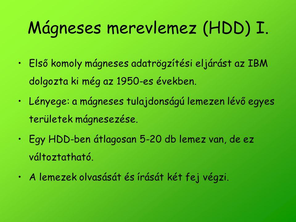 Mágneses merevlemez (HDD) I.