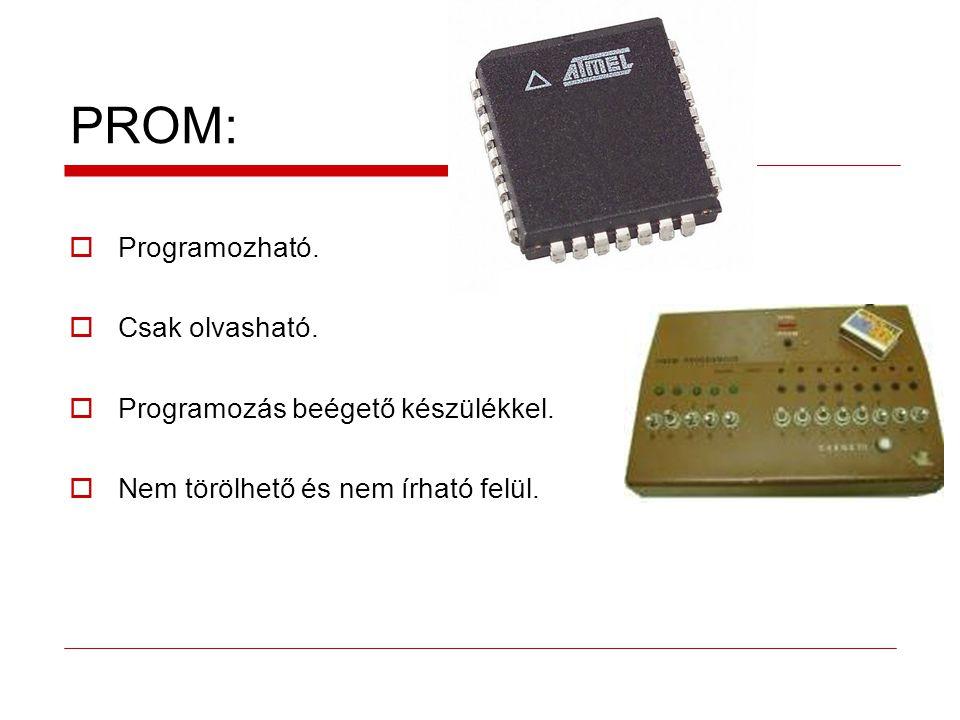 PROM: Programozható. Csak olvasható. Programozás beégető készülékkel.