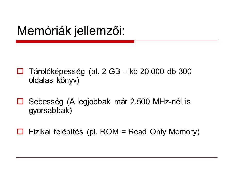 Memóriák jellemzői: Tárolóképesség (pl. 2 GB – kb 20.000 db 300 oldalas könyv) Sebesség (A legjobbak már 2.500 MHz-nél is gyorsabbak)
